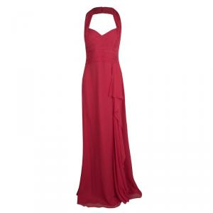 Notte by Marchesa Red Silk Chiffon Halter Evening Gown L