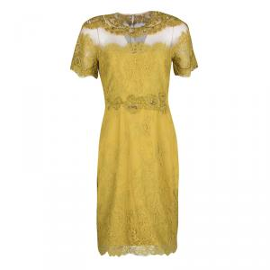 Notte by Marchesa Mustard Yellow Embellished Scalloped Lace Sheath Dress S