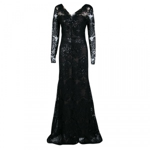 Notte By Marchesa Black Floral Applique Detail Embellished Embroidered Tulle Gown M used