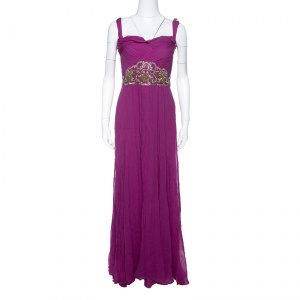 Notte By Marchesa Magenta Embellished Chiffon Draped Grecian Gown S used