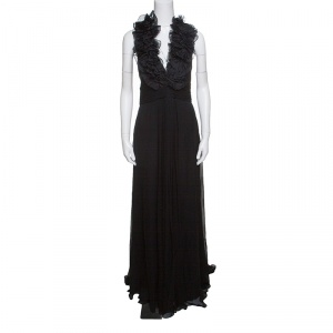 Notte By Marchesa Black Silk Chiffon Ruffle Detail Halter Evening Gown L - used