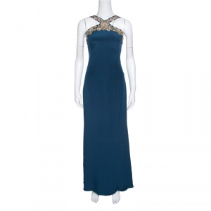 Notte by Marchesa Peacock Blue Embellished Silk Maxi Dress S - used