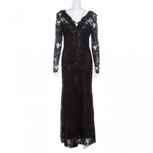 Notte By Marchesa Black Sequined Embroidered Floral Lace Gown S