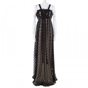 Notte By Marchesa Black Polka Dotted Tulle Bow Detail Gown M used