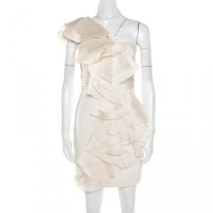 Notte By Marchesa White Silk Cascade Ruffle Detail One Shoulder Dress S