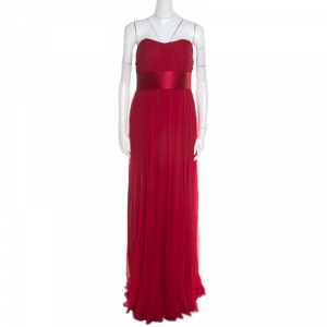 Notte By Marchesa Scarlet Silk Chiffon Pleated Bodice Strapless Gown M used