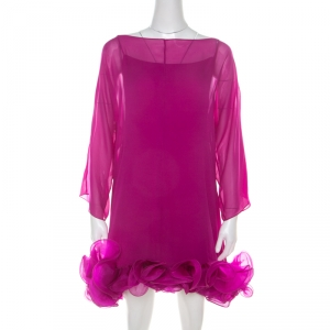 Notte By Marchesa Fuschia Pink Silk Chiffon Ruffle Hem Detail Short Dress L