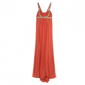 Notte by Marchesa Embroidered Strap Chiffon Gown L