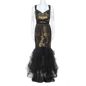 Notte By Marchesa Black and Gold Lace and Tulle Gown M used