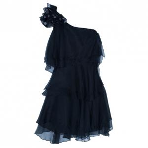 Notte By Marchesa Organza Ruffle One-shoulder Dress M
