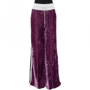 Off-White Purple Crushed Velvet Wide Leg Track Pants M