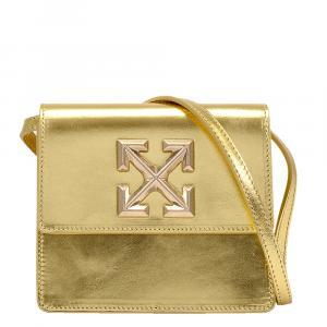 Off White Metallic Gold Leather Jitney 0.7 Bag