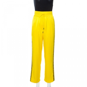 Off-White Yellow Crepe Logo Panel Drawstring Waist Detail Track Pants M