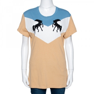 Off-White Tricolor Cotton Twisting Horses T Shirt L - used