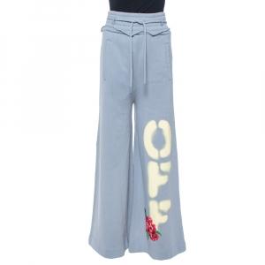 Off-White Dusty Blue Off Print Cotton Wide Leg Sweatpants XXS