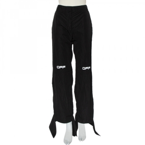 Off-White Black Logo Printed Synthetic Paneled Trousers L