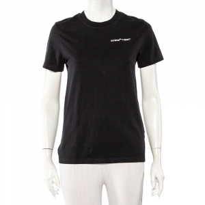 Off-White Black Logo Embroidered Cotton T-Shirt XS - used