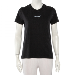 Off-White Black Cotton Logo Printed & Embroidered T-Shirt XS - used