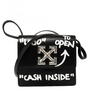 "Off-White Black Leather Jitney ""Cash Inside"" Crossbody Bag"