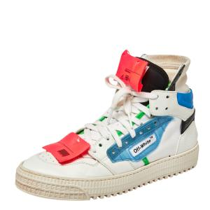 Off-White Multicolor Leather And Canvas Off Court High Top Sneakers Size 39