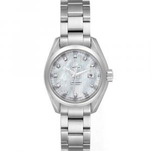 Omega MOP Diamonds Stainless Steel Aqua Terra 231.10.30.61.55.001 Women's Wristwatch 30 MM