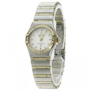 Omega Ivory 18K Yellow Gold & Stainless Steel Diamond Constellation Women's Wristwatch 24MM