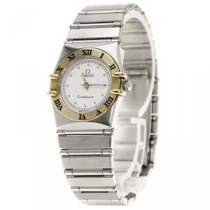 Omega White 18K Yellow Gold & Stainless Steel Constellation Women's Wristwatch 22MM