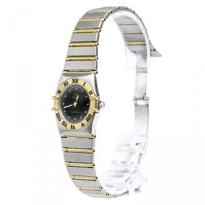 Omega Black 18K Yellow Gold & Stainless Steel Constellation Women's Wristwatch 22MM
