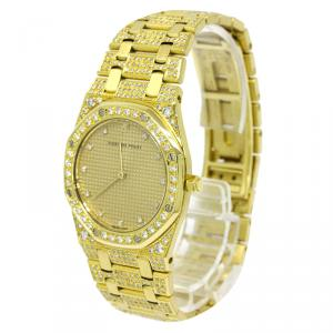 Audemars Piguet Gold 18K Yellow Gold Diamond Royal Oak Women's Wristwatch 33MM