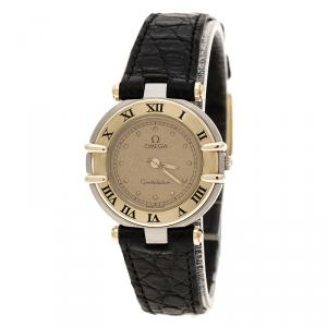 Omega Gold Dial Gold Plated Stainless Steel Constellation Women's Wristwatch 24 mm