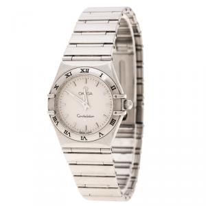 Omega White Stainless Steel Constellation Women's Wristwatch 25 mm