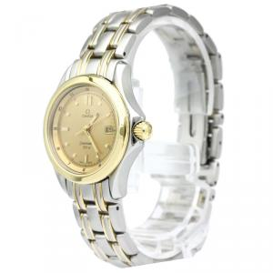 Omega Champagne 18K Yellow Gold and Stainless Steel Seamaster Women's Wristwatch 29MM