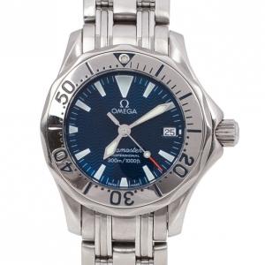 Omega Navy Stainless Steel Seamaster Women's Wristwatch 28MM