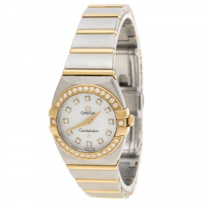 Omega Mother of Pearl 18K Yellow Gold and Stainless Steel Diamond Constellation Double Eagle Women's Wristwatch 24 mm
