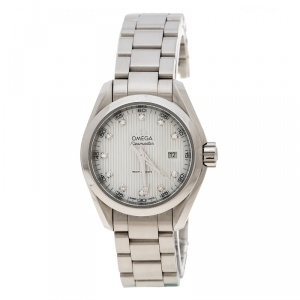 Omega White Mother of Pearl Diamond Stainless Steel Seamaster Aqua Terra Women's Wristwatch 29 mm