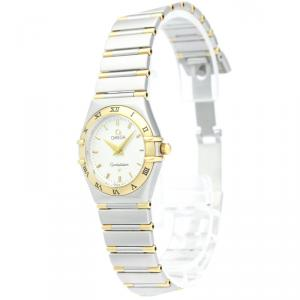 Omega Silver 18K Yellow Gold and Stainless Steel Constellation Women's Wristwatch 25MM