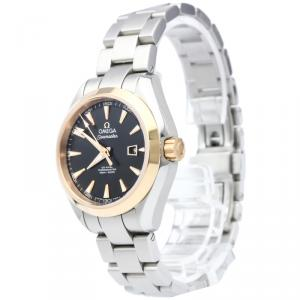Omega Black 18K Rose Gold and Stainless Steel Seamaster Aqua Terra Women's Wristwatch 34MM