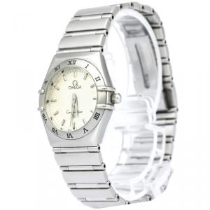 Omega Silver Stainless Steel Constellation Women's Wristwatch 25MM