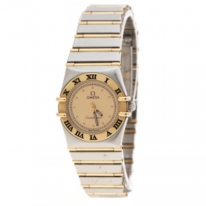 Omega Gold Dial 18K Yellow Gold and Stainless Steel Constellation 795.1080.1 Women's Wristwatch 22 mm
