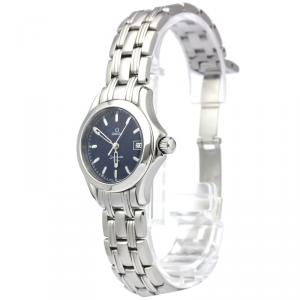 Omega Blue Stainless Steel Seamaster Women's Wristwatch 26MM