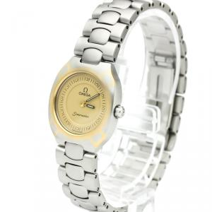 Omega Champagne Gold Plated Stainless Steel Seamaster Polaris Women's Wristwatch 22MM