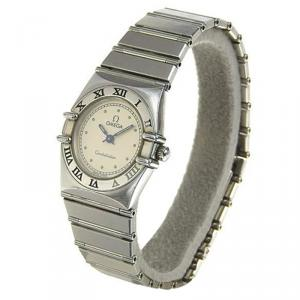 Omega White Stainless Steel Constellation Women's Wristwatch 23MM