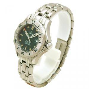 Omega Green Stainless Steel Seamaster Women's Wristwatch 29MM