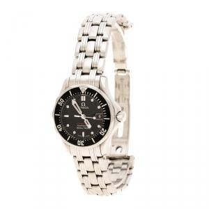 Omega Black Stainless Steel Seamaster Professional 596.1507 Women's Wristwatch 28 mm
