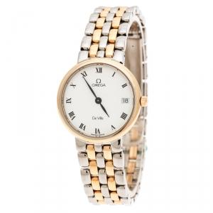Omega White Yellow Gold Stainless Steel Vintage De Ville 796.2579 Women's Wristwatch 25 mm