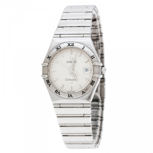 Omega Silver White Stainless Steel Constellation 1582.30.00 Women's Wristwatch 27 mm