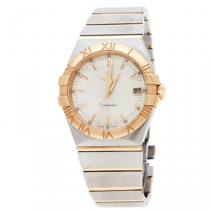 Omega Silver Stainless Steel and 18K Yellow Gold Constellation 396.2011 Women's Wristwatch 34 mm