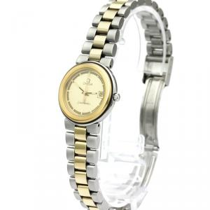 Omega Champagne Gold Plated Stainless Steel Seamaster Women's Wristwatch 26MM