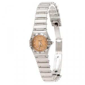Omega Bronze Stainless Steel Diamond Cindy Crawford Constellation 1564.65 Women's Wristwatch 22 mm
