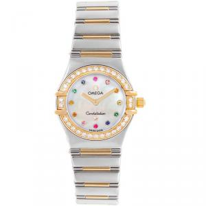 Omega MOP 18K Yellow Gold and Stainless Steel Diamond Constellation 365.79.00 Women's Wristwatch 22.5MM